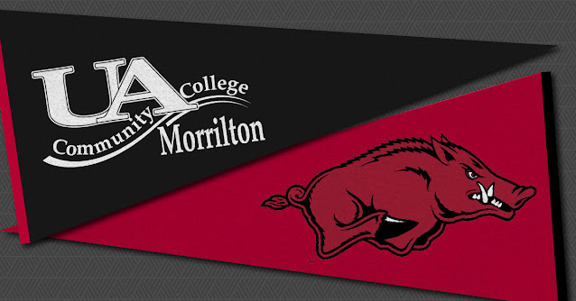 a UACCM pennant and a UA-Fayetteville pennant cross paths