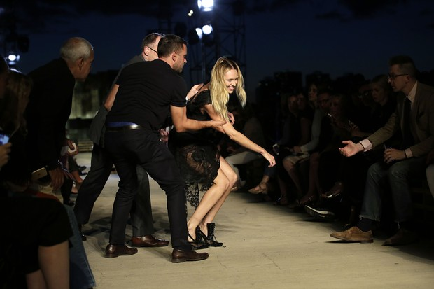 Candice Swanepoel takes tumble in Givenchy's show
