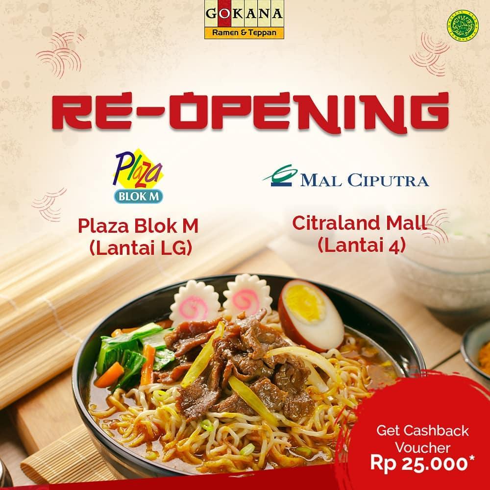 Gokana - Promo Re-Opening di Plaza Blok M & Citraland Mall (s.d 25 Des 2018)