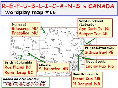wordplay; anagram; map; American political parties; Canada; Giorgio Coniglio