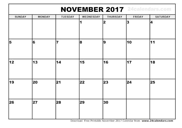 November 2017 Calendar, November 2017 Calendar Printable, November 2017 Calendar Template, Printable November 2017 Calendar, November Calendar 2017