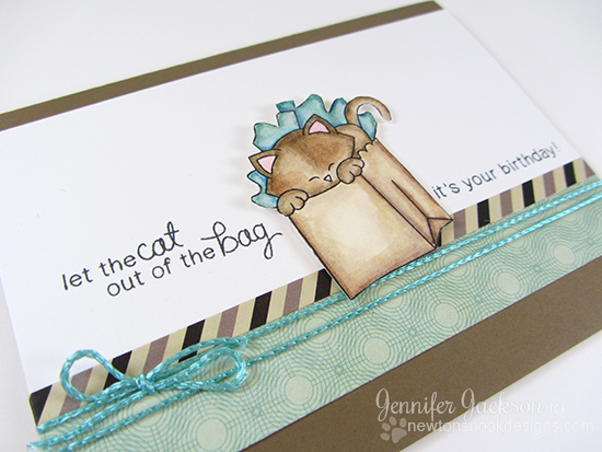 Let the cat out of the bag Birthday card by Jennifer Jackson  | Newton's Birthday Bash Stamp set by Newton's Nook Designs #newtonsnook