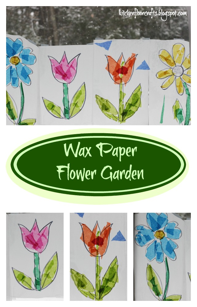 Kitchen floor crafts wax paper flower garden we each made out own flower and worked on one more together each of the four flowers had their own look but when we put them all together in the window mightylinksfo
