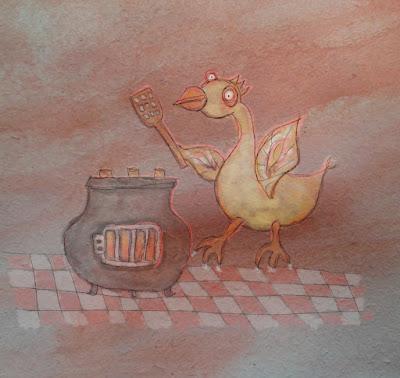 Illusztráció meséhez, csirke áll egy kockás metlakis hamburgerezőben, vaskályha előtt, magokból készült pogácsát süt rajta a csirkeburgerhez.