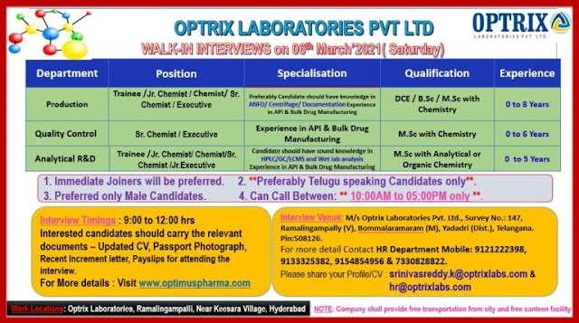 Optrix Labs | Walk-in interview for Production/Qac/AR&D on 6th Mar 2021