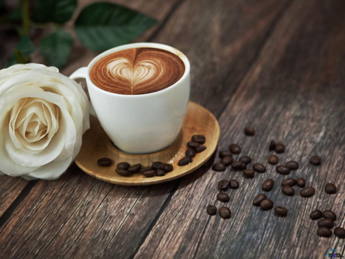 A White Rose A Cup Of Coffee With Love Sign And Coffee