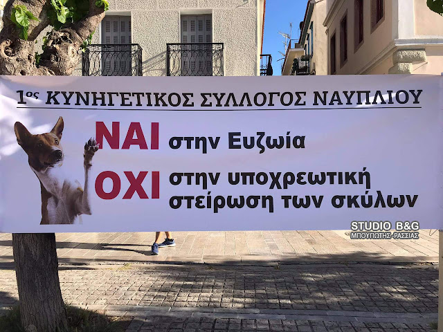 """""""Οχι στην υποχρεωτική στείρωση των σκύλων"""" φώναξαν τα μέλη του Κυνηγετικού Συλλόγου Ναυπλίου"""