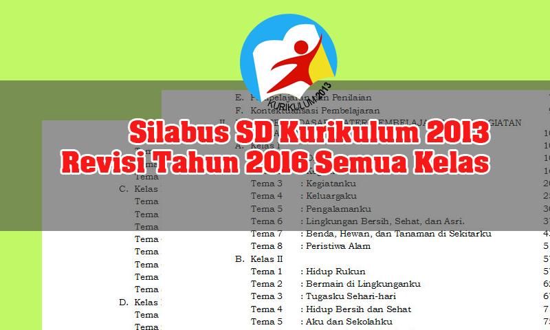 Silabus Sd Kurikulum 2013 Revisi Tahun 2016 Semua Kelas Kurikulum 2013