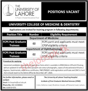 The University of Lahore Jobs 2020 Latest