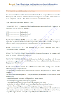 draft board resolution for constitution of audit committee