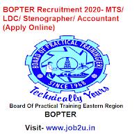 BOPTER Recruitment 2020, MTS, LDC, Stenographer, Accountant