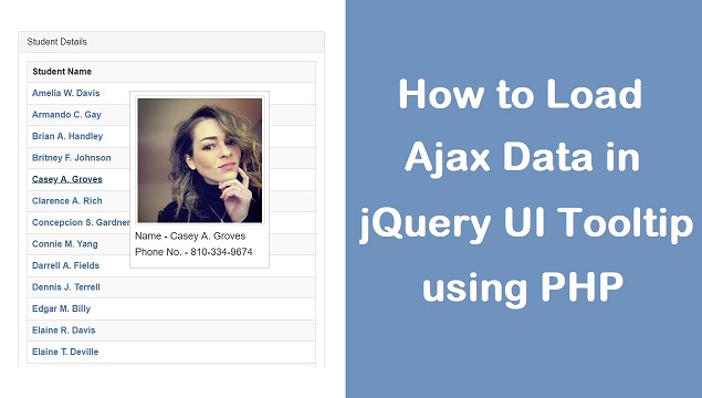 How to Load Dynamic Data in jQuery UI Tooltip using Ajax