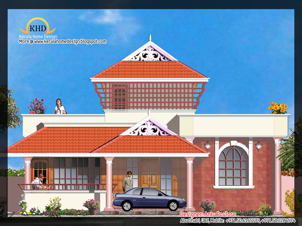 House plan and elevation 2165 sq ft kerala home design for Elevation of kerala homes