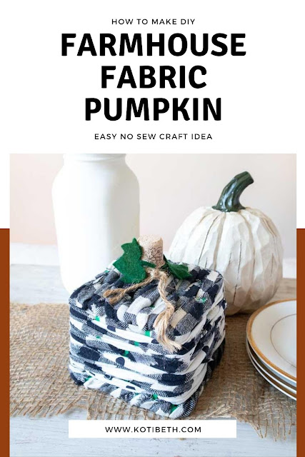 How to make a DIY pumpkin decor. This farmhouse fall decor DIY is easy to make.  It's a fabric pumpkin, but it's DIY no sew. Follow this easy tutorial for a pumpkin craft. This fall decoration will look cute in your living room or anywhere in the house. If your fall decorations need an update for 2020, make a quick farmhouse fall decor DIY to match your current decorations. This is a cute square pumpkin that's so easy to make if you need ideas for DIY fall decorations. #nosew #diy #fabric #pumpkin #fall