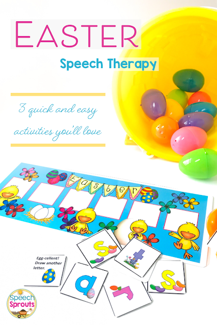 You'll love how easy it is to target multiple goals at once with this fun Easter Vocabulary game. Language prompts are included, or use it open-ended for any target. Comes with Spring and St. Patrick's Day games too, so you can use these all season long.  One of 3 Quick and Easy Easter Speech Therapy Activities that are a must-have this spring! Head over to the post to see the other two.   #speechsprouts #speechtherapy #easter