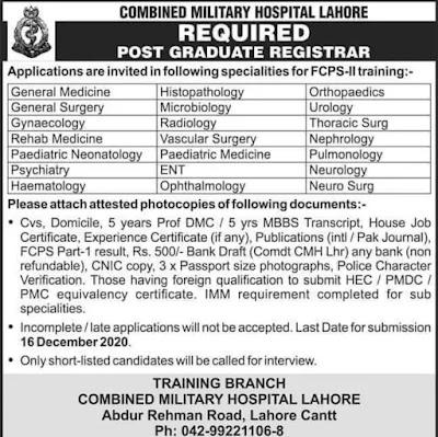 Job opportunities in CMH Lahore