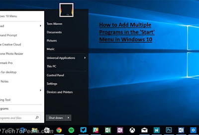 How to Add Multiple Programs in the 'Start' Menu in Windows 10