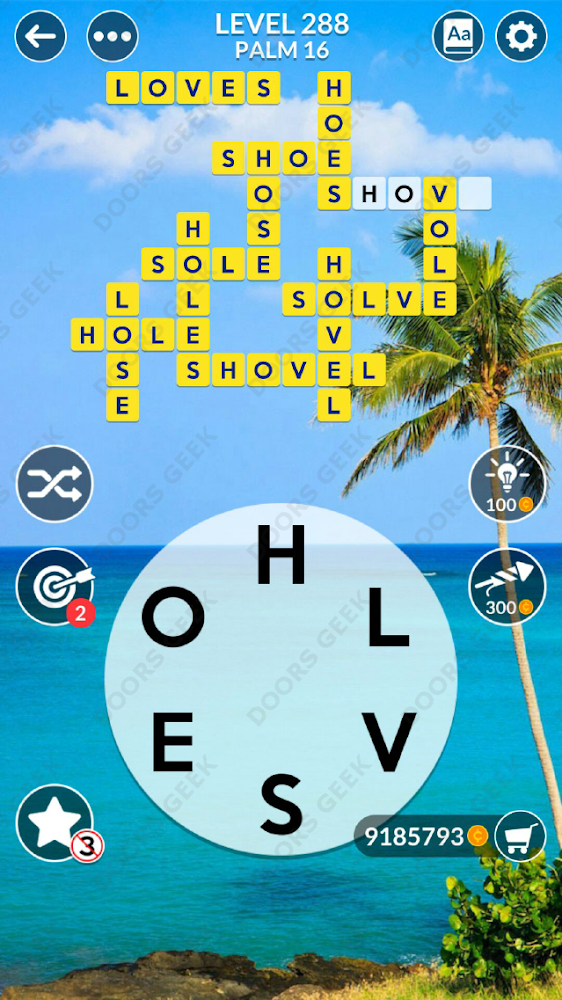 Wordscapes Level 288 answers, cheats, solution for android and ios devices.