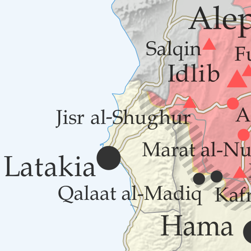 Map of Syrian Civil War (Syria control map): Territorial control in Syria in May 2019 (Free Syrian Army rebels, Kurdish YPG, Syrian Democratic Forces (SDF), Hayat Tahrir al-Sham (HTS / Al-Nusra Front), Islamic State (ISIS/ISIL), and others). Includes US deconfliction zone and Turkey-Russia demilitarized buffer zone, plus recent locations of conflict and territorial control changes, such as Al Kawm, Qalaat al-Madiq, Kafr Nabudah, and more. Colorblind accessible.