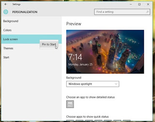 Cara Pin Submenu Settings pada Windows 10