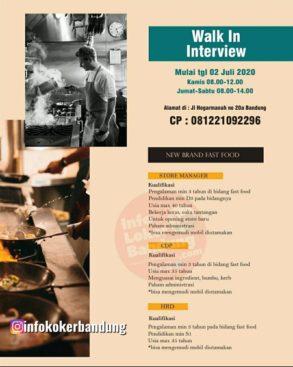 Walk In Interview 2 Juli 2020 New Brand Food Bandung Juni 2020