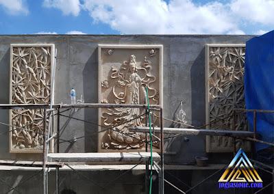 Relief tempel dinding dewi kwan im dan relief motif bambu