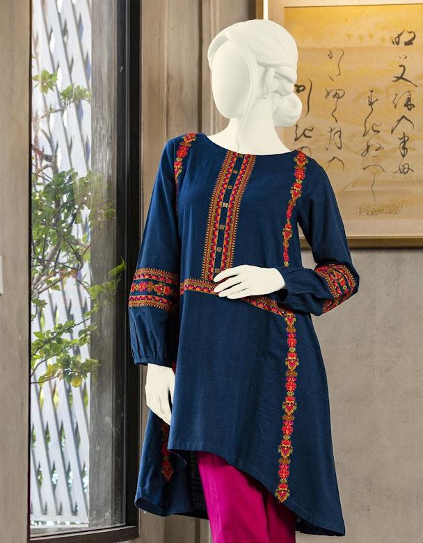 J. Junaid jamshed winter pret navy blue color embroidered slub kurtis for women