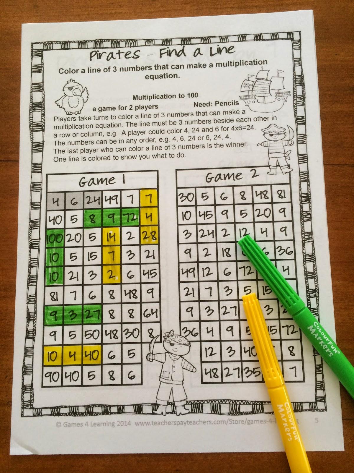 Fun Games 4 Learning More No Prep Math Games Freebies