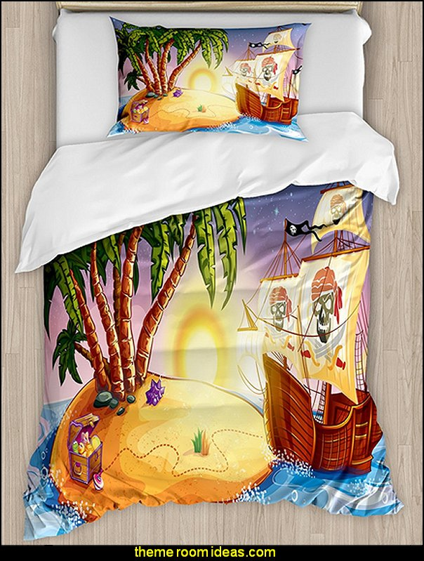 Pirate Duvet Cover Set  pirate bedrooms - pirate themed furniture - nautical theme decorating ideas - pirate theme bedroom decor - Peter Pan - Jake and the Never Land Pirates - pirate ship beds - boat beds - pirate bedroom decorating ideas - pirate costumes