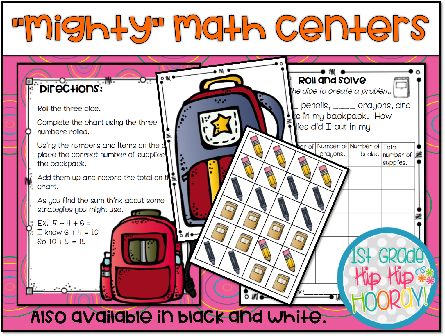 1st Grade Hip Hip Hooray Mighty Math Centers For Operations And Algebraic Thinking