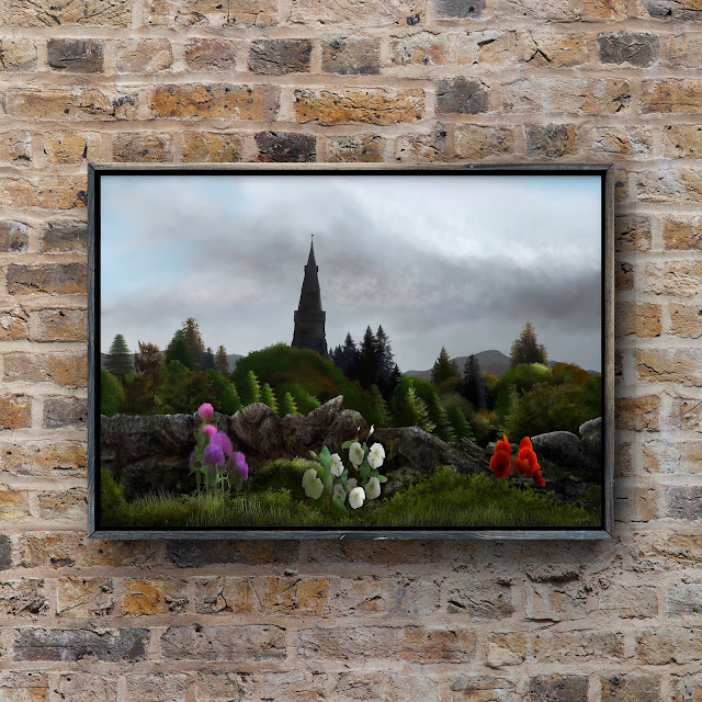 dry stone wall and church art by Mark Taylor