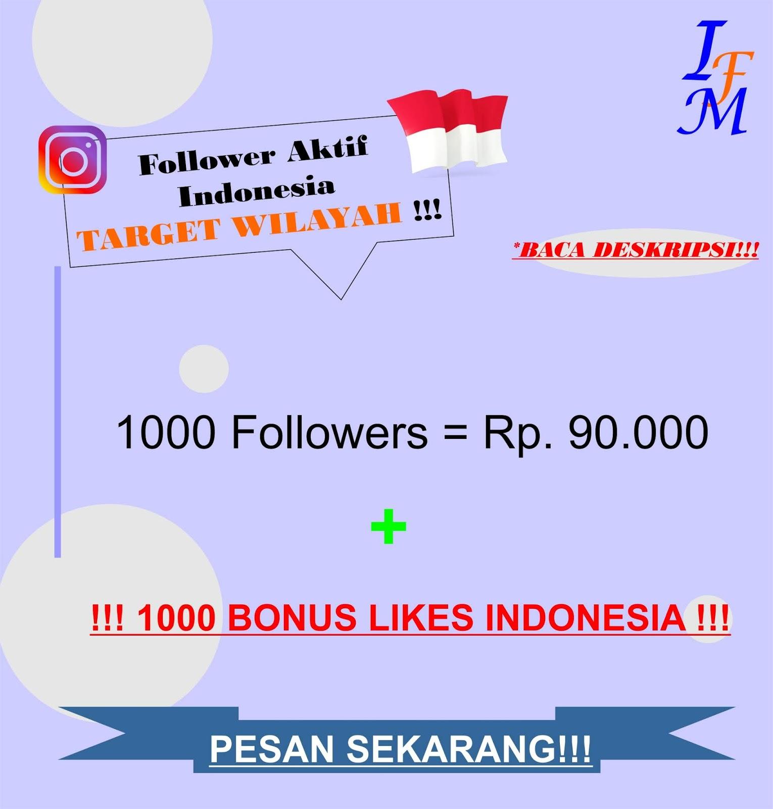 Jasa Tambah 1000 Follower Akun Instagram Aktif Indonesia Target Wilayah Murah