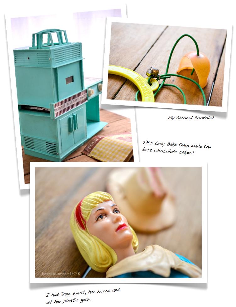 Vintage toys, Easy Bake Oven, Jane West, Footsie, via Funky Junk Interiors