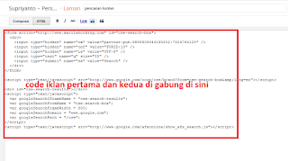 pasang pada bagian laman html jangan compose