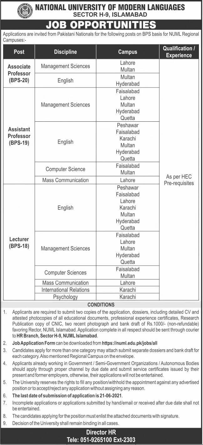 NUML University Jobs 2021 Advertisement Application Form