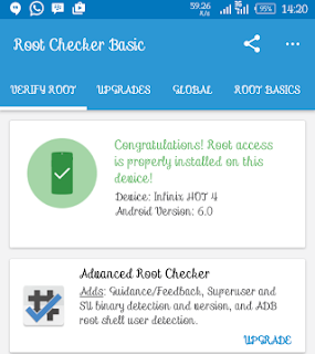 Root Checker Confirmation of Infinix hot 4