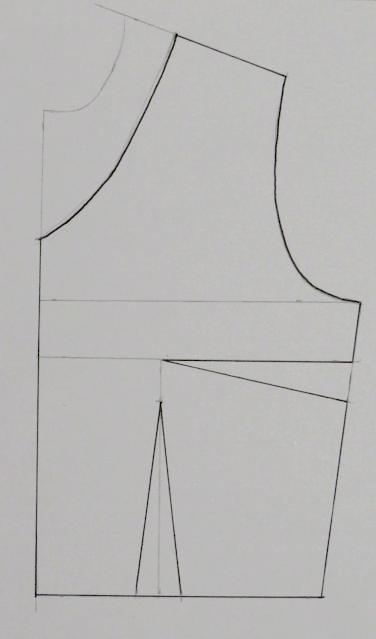 Patrón base delantero con escote en pico
