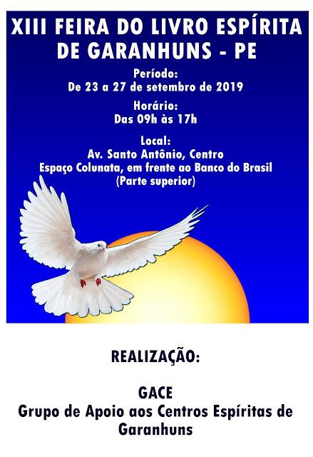 XII FEIRA DO LIVRO ESPÍRITA DE GARANHUNS - PE