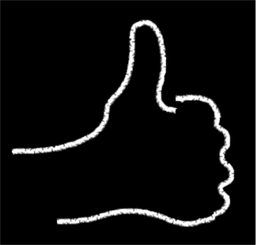 Signo de aprobación: mano con pulgar hacia arriba. Dibujo en trazos blancos sobre fondo negro. ©Selene Garrido Guil