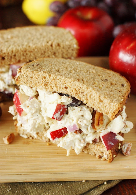 Greek Yogurt Chicken Salad with Apples & Pecans ~ It makes for one truly perfect-for-Fall {or any time} sandwich!  www.thekitchenismyplayground.com