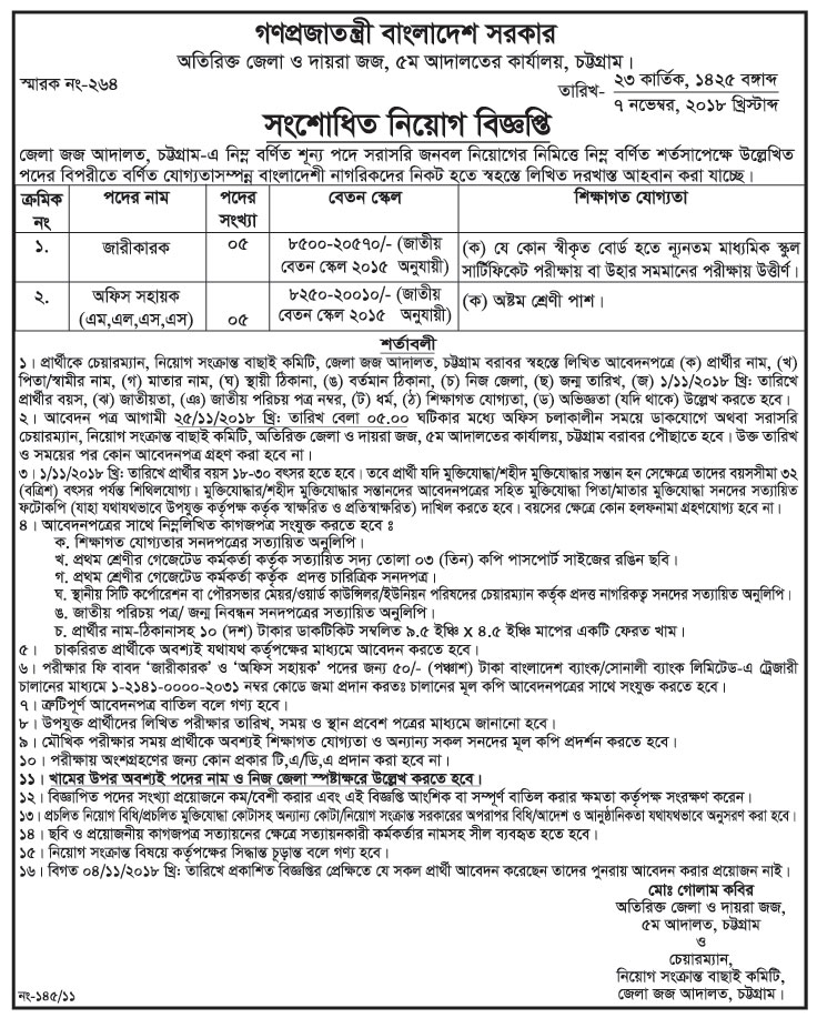Additional District and Sessions Judge, 5th Court Office, Chittagong Job Circular 2018