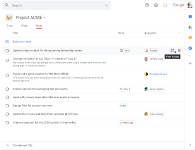 """Select a task in the """"Tasks"""" portion of a Google Chat room — you can select the chat icon to navigate to relevant messages."""