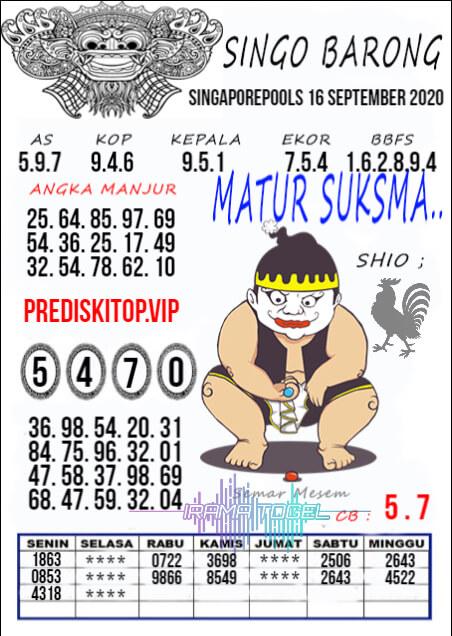 Syair SGP Rabu 16 September 2020 -