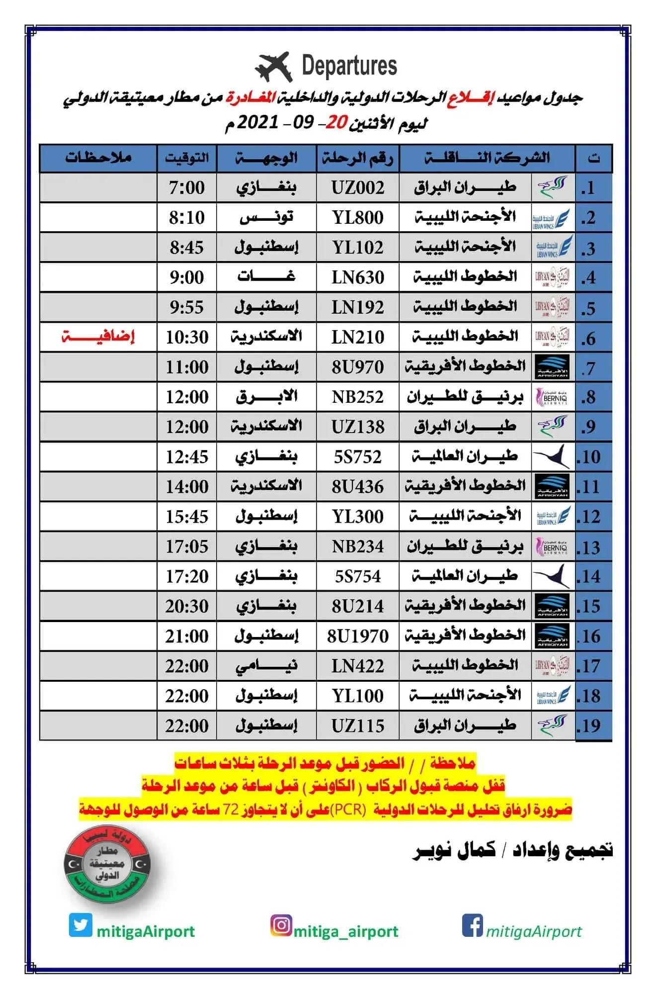 رحلات مطار معيتيقة الدولي الأثنين 20-09-2021م