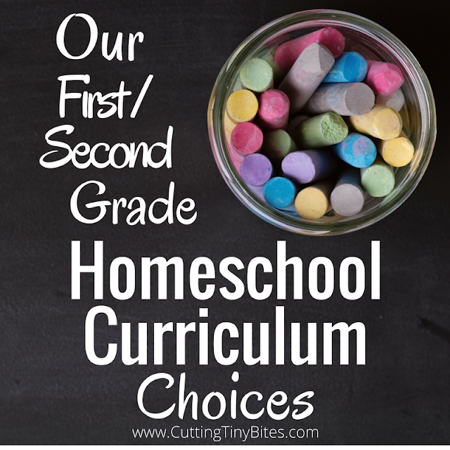 Homeschool curriculum choies for a combined first and second grade year. Selections for math, spelling, grammar, copywork, science, geography, and history. Based on recommendations from The Well Trained Mind.