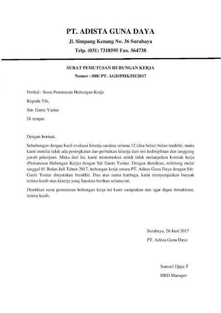 Contoh Surat Pemutusan Hubungan Kerja (PHK) - Assalam Print