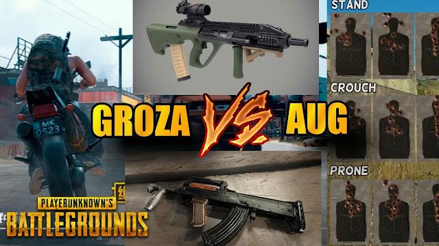 من الأفضل سلاح Groza أم AUG فى لعبة ببجي موبايل