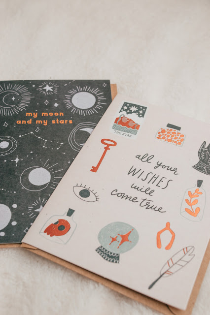 Two greeting cards with a natural and celestial prints on.