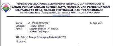 Surat Edaran  Kemendesa Nomor 697/P3MD.01/IV/2021 tentang Laporan Bulanan TPP melalui Aplikasi Daily Report