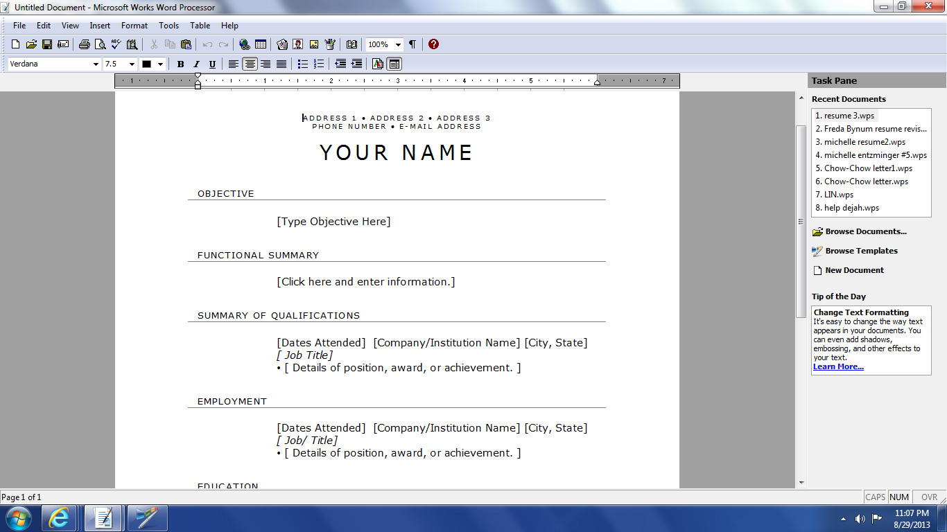 ... creating your resume much easier and make it look very professional